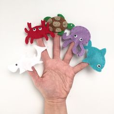 Handmade and Hand-Stitched Sea Creatures Finger Puppets your children will love. Perfect for quiet playtime!  Includes 5 finger puppets: - Shark