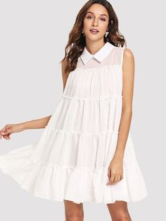 Contrast Collar Tiered Ruffle Swing Dress -SheIn(Sheinside) Dress P, Swing Dress, Lolita Style, Contrast Collar, Lolita Fashion, Summer Dresses, Vestidos, Pregnancy, Summer Sundresses