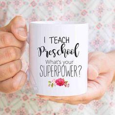 """preschool teacher gift, """"I teach preschool, what's your superpower?"""", teacher gifts end of year, teacher appreciation week gift ideas MU229 by artRuss on Etsy"""