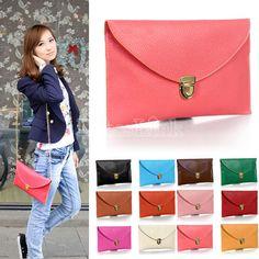 New Fashion Women's Golden Chain Envelope Purse Clutch Synthetic Leather Handbag Shoulder Bag Dinner Party