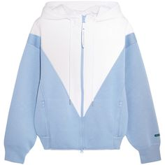 Adidas by Stella McCartney Studio hooded two-tone modal-jersey jacket ($165) ❤ liked on Polyvore featuring sky blue and adidas