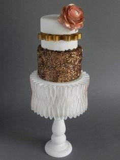 Kara's Couture Cakes - Cake Masters Cover Cake | Tutorial | Edible Gelatin Sequins | Cake Decorating | #ediblesequins #tutorial #cakedecorating