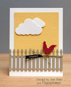 card rooster cloud clouds fence Poppystamp barnyard Rooster, Picket Fence and Fancy Clouds dies, along with the Memory Box Honey Comb stencil. Homemade Greeting Cards, Hand Made Greeting Cards, Greeting Cards Handmade, Homemade Cards, Cricut Cards, Stampin Up Cards, Memory Box Cards, Shaped Cards, Bird Cards