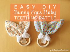 Learn step by step how to sew these cute bunny ears to create an easy making baby gift: a beautiful teething rattle with free printable pattern.