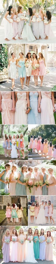 Pastel Mismatched Bridesmaid Dresses.  Pinned by Afloral.com.  Find pastel flowers and pre-made bouquets at Afloral.com for your bridesmaids.