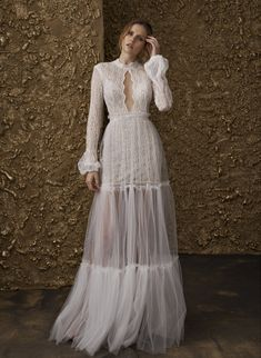 """Nurit Hen 2018 Wedding Dresses — """"Golden Touch"""" Bridal Collection nurit hen 2018 bridal long sleeves high jewel neck keyhole neckline full embellishment bohemian soft a line wedding dress covered lace back sweep train mv Wedding Dress Necklines, Lace Wedding Dress, Wedding Dresses 2018, Bohemian Wedding Dresses, Boho Wedding, Lace Dress, Trendy Wedding, Lace Back Dresses, Wedding Outfits"""
