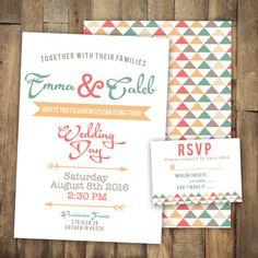 Fun Wedding Invitation Bright Bold Geometric by JordanSantosDesign