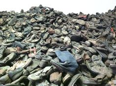 this is at auschwitz.  contraband piles of shoes, gold teeth and wedding rings are on display today.  mauthausen's heap of stolen eyeglasses tore me up