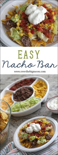 Easy Nacho Bar ~ this is the perfect lunch for a small group or workplace that's easy to prep ahead of time! | http://overthebigmoon.com