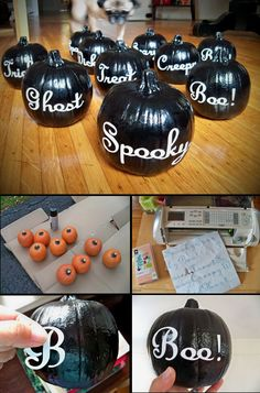 DIY Spooky Black Pumpkins. we can so do this...cricut lettering onto label or reg paper (& stick)