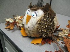My workplace has a pumpkin decorating contest every Halloween, of which one person has won for the last three years. That would be Sara. Sara is a soft spoken little blond girl with mad superglue s… Cute Halloween, Halloween Costumes For Kids, Halloween Pumpkins, Halloween Crafts, Halloween Decorations, Owl Pumpkin, Pumpkin Books, Pumpkin Crafts, Pumpkin Ideas
