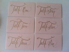 Custom and Affordable Wedding Table Numbers Calligraphy