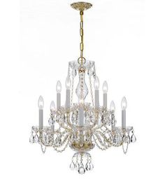 Crystorama 5080-PB-CL-MWP Traditional Crystal 10 Light Clear Crystal Brass Chandelier V