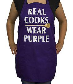 *Real Cooks Wear Purple* 2-Pocket Adjustable Purple Bib Apron