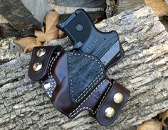 Nightingale Leather Ruger LCP Griffon V OWB Holster ~ Cordovan Cowhide ~ Black Elephant Reinforcement Panel  ~ Natural White Stitching ~ Nickel Snaps