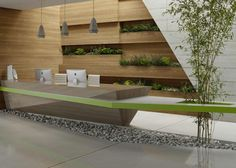 Conceptual office reception area, designed without conventional restrictions using CGI. The design combines plants and natural wood textures for a fresh unique office reception area. Reception Counter, Office Reception, Reception Areas, Corporate Interiors, Office Interiors, Commercial Design, Commercial Interiors, Green Office, Counter Design