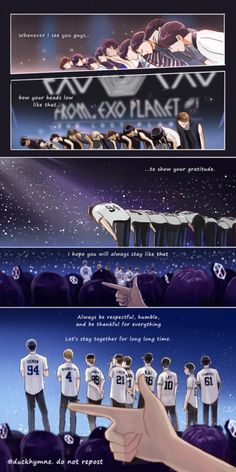""" What I admire from EXO is their humbleness. They never change, even after they gained lot in this 5 years. So this comic is what I want to say to EXO."" As a fellow Exo-L I couldn't agree more thank you for this beautiful comic strip~💕 Baekhyun, Exo Bts, Kpop Exo, Kaisoo, Park Chanyeol, K Pop, Exo Cartoon, Exo Anime, Exo Album"