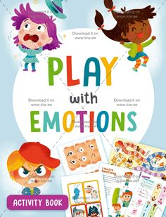Emotions Board Game + 45 emotion activities for kids  Play with Emotions Activity Book is designed to help your kid to discover hisemotions. It contains the entire Emotional Board Game, that teaches your kid much about situations, about relationshipor a problem we have to deal with, and a lot about hisfeeling. 45 pages ofbright and beautiful activities. Age 3+