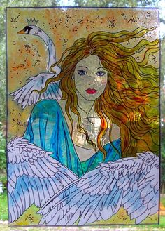 WICOART STICKER WINDOW COLOR CLING FAUX STAINED GLASS REINE DES CYGNES SWAN LADY