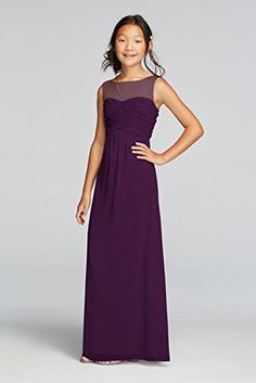 Long Mesh Dress with Illusion Tank Ruched Bodice Style JB9010, Plum, 14 David's Bridal http://www.amazon.com/dp/B019Y8Q7FA/ref=cm_sw_r_pi_dp_0qxIwb18TGCX1