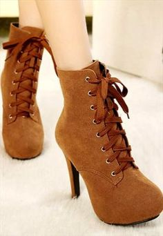 Brown Lace Up Stiletto Heel Winter Boots