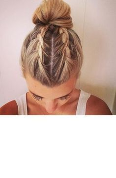 Braids Into Two Buns Idea august braids into a bun the wonderful becky of Braids Into Two Buns. Here is Braids Into Two Buns Idea for you. Braids Into Two Buns trend watch mohawk braid into top knot half up hairstyles. Pretty Hairstyles, Girl Hairstyles, Braided Hairstyles, Wedding Hairstyles, Short Summer Hairstyles, Ballet Hairstyles, Hairstyles Videos, Bad Hair, Hair Day