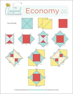 Learn How to Make a Perfect Economy Quilt Block with these simple instructions. Quilting Tutorials, Quilting Projects, Quilting Designs, Quilting Tips, Star Quilt Patterns, Pattern Blocks, Paper Piecing Patterns, Quilt Blocks Easy, Block Quilt