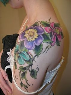 Tropical Flowers Shoulder Tattoo by Claire