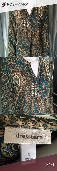 Dressbarn colorful patterned blouse Nice long sleeve top with jewel tones. Teal, cream, tan, brown, and green paisley style pattern. Blue buttons and black beading. Elegant green blue shirt for many occasions. Dress Barn Tops Blouses