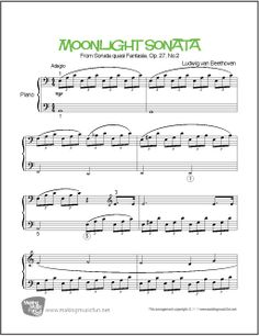 2752 best piano sheet music beginner and easy images on pinterest moonlight sonata by composer ludwig van beethoven print and download beginnereasy piano sheet fandeluxe Images