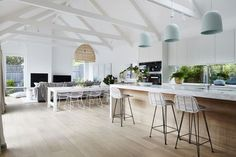 Celebrity Kitchens with Caesarstone: Part Two Celebrity Kitchens, Exposed Trusses, Sweet Home, Melbourne House, Inside Home, Cuisines Design, Open Plan Kitchen, Open Plan Living, Kitchen Living