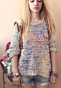 Sweet Cute Colorful Rainbow Knit Sweater