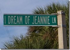 """Yep. I Dream of Jeannie Lane. You'll find it in Cocoa Beach, Florida. Driving past the sign is something I always look forward to on our Florida trips. Tradition dictates that as soon as we see it, I start singing the """"I Dream of Jeannie"""" TV show theme song. Hard to believe they didn't name this street until 1996!"""