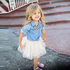 2Pcs Toddler Kids Baby Girls Outfits Denim Shirt Tops+Tutu Skirt Dress Sets