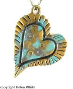 Steampunk Polymer Clay Heart Pendant - Patina/Celtic Bronze. £25