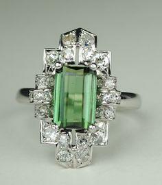 Long Green Tourmaline Art Deco Diamond Ring by greenhilljewelers