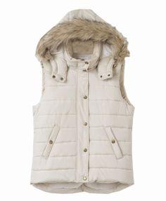 Detachable Fur Hooded Sleeveless Vest