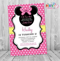 Minnie Mouse Birthday Invitations. Printable Girls Birthday Party Invite. We can change text for first, third birthday, or any age. Just put text in note section at checkout. Convo us if you need wording ideas :) Invitation is 5 x 7 and comes with a Free backside. YOU print your birthday invitations. ============================================================ ►Format: Invitation will be sent in JPG format. If you require a PDF or two invites in PDF, please request this after the digital…