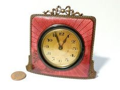 Art Deco red Guilloche enamel mantel/boudoir clock