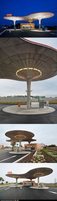 Sleek Gas Station Design, in Slovakia