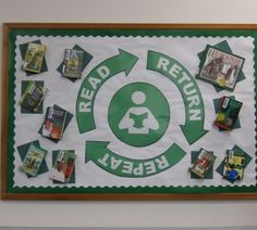 "Great bulletin board for library or classroom reading area. ""Read Return Repeat"" Bulletin Board by Geneva Designs. School Library Displays, Middle School Libraries, Elementary School Library, Elementary Schools, School Library Decor, Elementary Shenanigans, Reading Bulletin Boards, Back To School Bulletin Boards, Classroom Bulletin Boards"