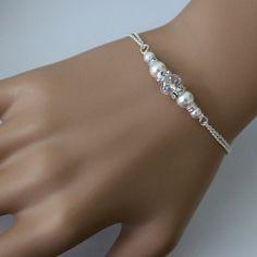 Pulsera de perlas blanca Swarovski blanco por alexandreasjewels