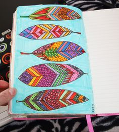 Doodled leaves, colored in with marker.  Made me feel like a kid! thedreamingbear.blogspot.com Dori Patrick
