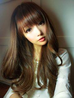 Brown wavy long hair