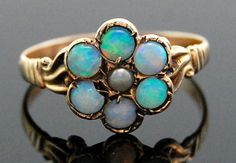 Antique Opal & Pearl Floral Cocktail Ring in 10k Yellow Gold Size 5.5