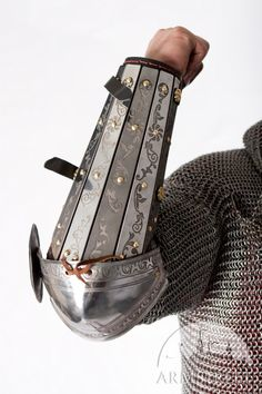 Medieval SCA armor bracers splinted with elbow cops and etching on it for sale :: by medieval store ArmStreet