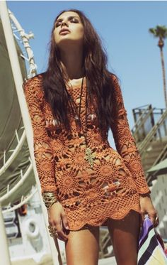 Burnt orange crochet dress
