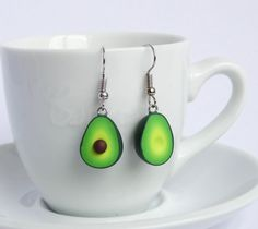Green miniature avocado dangle earrings asymmetric pair healthy food superfood funny earrings superfood lover present gift