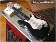 Cake Inspiration: Another style guitar for the groom's cake. I think I like this one better! Guitar Birthday Cakes, Guitar Cake, Cool Birthday Cakes, Birthday Music, 50 Birthday, Fondant Cakes, Cupcake Cakes, Cake Fondant, 3d Cakes