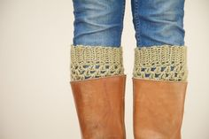 Crochet Boot Cuffs in Light Olive Green - Boot Toppers - Light Olive Green Boot Socks
